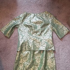 Roban Dresses - Vintage Roban NY Suit - Green and Gold - Cocktail